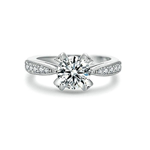 Epinki Silver Plated Women Ring Solitaire Ring With White Cubic Zirconia Size ()