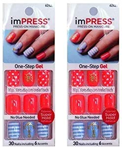 Anchor Coral - KISS imPRESS Short Length Press-On Manicure Nails (2 Packs, Coral Gold Glitter Anchor)