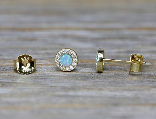 Blue Opal Gemstone Stud Earring – Pave Halo 14k Gold Plated Sterling Silver – 6mm