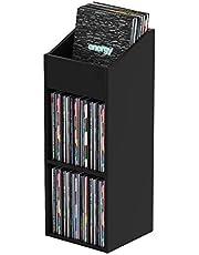 Glorious Record Rack 330 Black – Geavanceerd vinylstation met tweedelige lay-out, 330 opnames van 30 cm (12 inch), eenvoudige installatie in enkele eenvoudige stappen, zwart