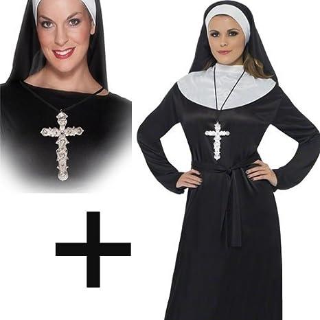 Mega Fancy Dress Disfraz para mujer de Nun + Cross con disfraz de ...