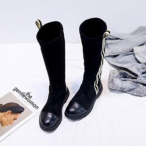 Shukun Stiefeletten Stiefel Stiefel Stiefeletten Frauen Herbst Und Winter Hohe Flache Ritter Stiefel Runde Kopf Mode Stretch Einzelne Stiefel 8b7118