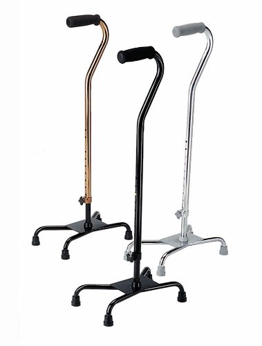 Quad Base Cane Tips Small (Medline MDS86222W Aluminum Quad Canes with Small Base and Foam Handles, Black (Pack of 2))