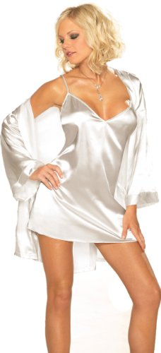 Sexy-Lingerie-Sleepwear-Set-White-Charmeuse-Babydoll-and-Robe