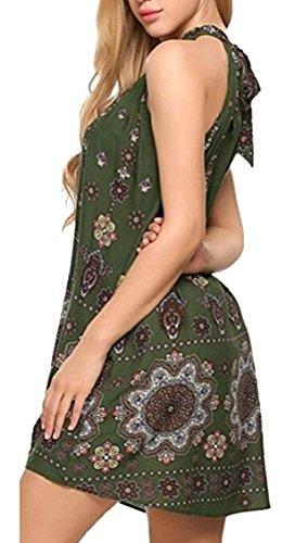 Jaycargogo Femmes Licou Sans Manches Casual Floral Imprimé Boho Mini Robe Verte De L'armée