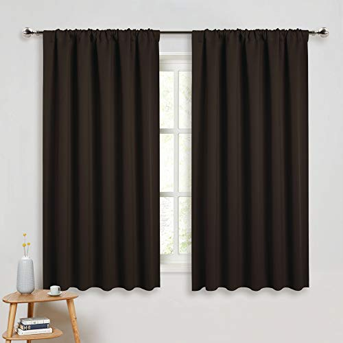 - PONY DANCE Bedroom Curtains Drapes - Blackout Panels Home Fashion Solid Rod Pocket Curtain Blinds Home Decor Thermal Insulated Light Block, Wide 52
