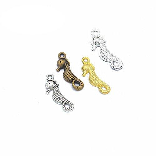 (100pcs Charms Hippocampus Seahorse Antique Making Pendant Fit,Vintage Tibetan Silver,DIY Bracelet Necklace 23x8mm(100pcs-Hippocampus japonicus))