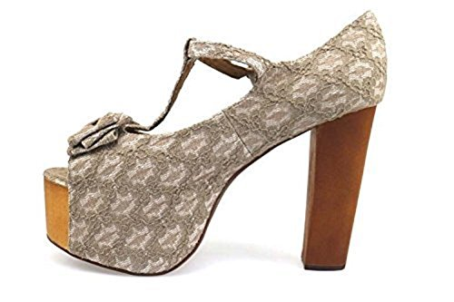 Zapatos Mujer JEFFREY CAMPBELL 41 Gris Blanco Textil AP668-B