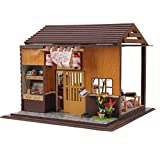 Rylai 3D Puzzles Wooden Handmade Miniature Dollhouse DIY Kit w/ Light-Japanese Sushi Model