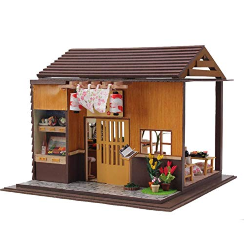 Rylai 3D Puzzles Wooden Handmade Miniature Dollhouse DIY Kit w/ Light-Japanese Sushi Model Series Dollhouses Accessories Dolls Houses with Furniture & LED & Music Box Best Xmas Gift