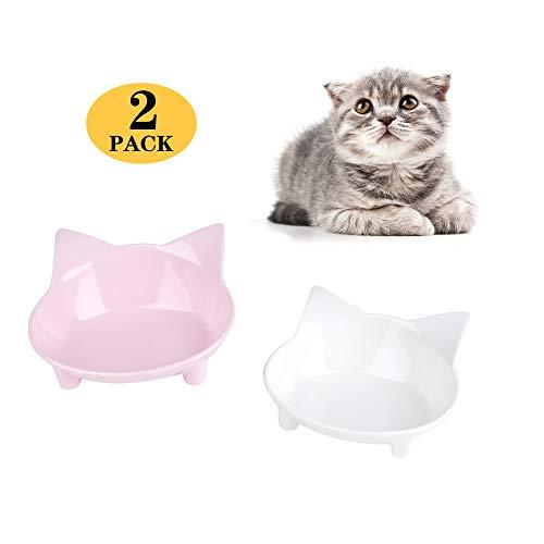 cGy Cat Bowls,Cat Food Bowls, Cat Pet Bowls Pet Supplies,Non Slip Cat Feeding Bowls,Cat Water Bowls (White/Pink)
