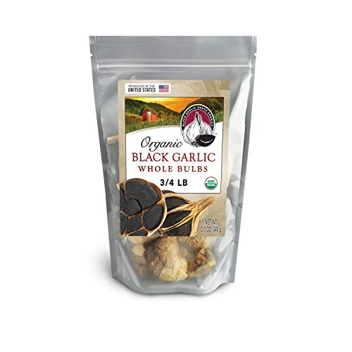"Black Garlic ""Organic American"" Whole Bulbs (Large 3/4 Pound Bag)...Aged and Fermented 120 Days"