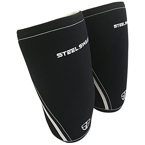 Steel Sweat Knee Sleeves, 1 Pair Heavy Duty Professional 7mm Compression and Support for Weightlifting, Powerlifting, CrossFit & Squats - Unisex for Men and Women - RAW Large