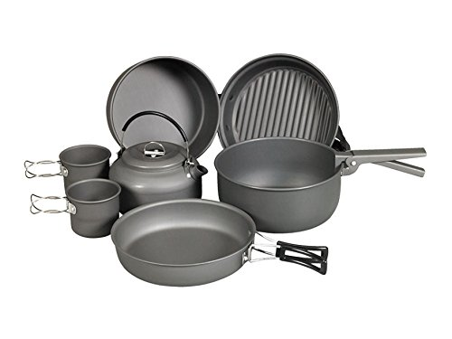 NDUR 9 Piece Cookware Messキットアルミブラック B07B6ZW9S9