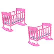 Dovewill 2 Pieces Dolls Pink Baby Rocking Nursery Room Furniture FOR Barbie Kelly Dolls
