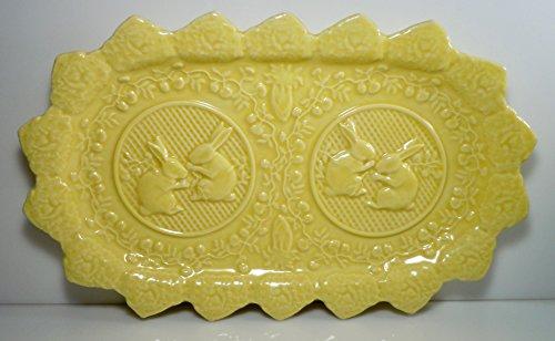 Bordallo Pinheiro Rabbit Yellow Large Sandwich Tray 13 1/2