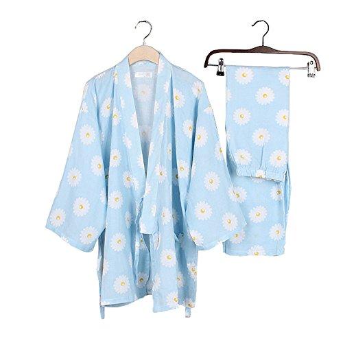 女性の和風ロングスリーブローブコットン着物パジャマスーツ着こなしセットピンクフラワー