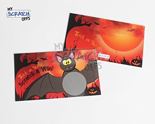 Halloween Games Spooky Funny Bat Shower Scratch Off Game Card Set 25 Cards (24 Sorry 1 Winner), Kit for Kids School Party Favors, My Scratch Offs