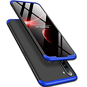 TheGiftKart Full Body 3 in 1 Slim Fit 360 Degree Protection Hard Bumper Back Case Cover for Xiaomi Redmi Note 8 (Blue Black)