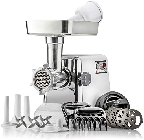The Powerful STX Turboforce Classic 3000 Series Electric Meat Grinder Sausage Stuffer 4 Grinding Plates, 3 – S S Blades, Sausage Tubes Kubbe Maker. 2 Free Meat Claws 3 in 1 Burger-Slider Maker
