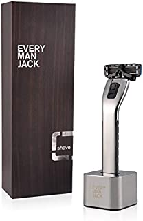 product image for Every Man Jack Manual Razor Shipper, Chrome, includes handle, stand, 4 cartridges