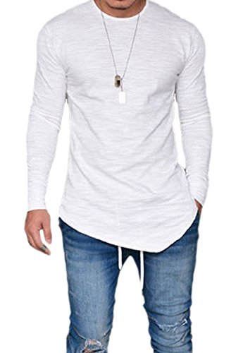 PiePieBuy Men's Crewneck Long Sleeve Basic Hipster Hip Hop SWAG Curved Hem T-Shirt (L, White-1)