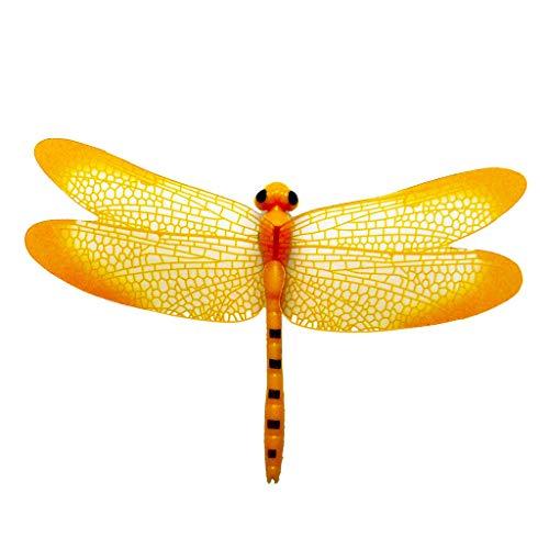 Fan-Ling 1Pc 3D Dragonfly Shape Fridge Fridge Magnet Refrigerator Sticker Home Decor Set,Magnetic 3D Dragonfly,Garden Yard Outdoor Indoor Art Crafts Decor,Landscape Decoration (Yellow)