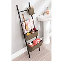 InterDesign Formbu Wren Free Standing Bathroom Storage Ladder with Bins for Towels, Beauty Products, Lotion, Soap, Toilet Paper, Accessories - Natural/Gray