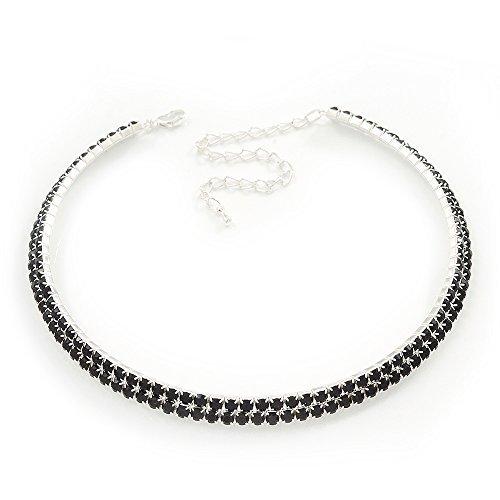 2-Row Montana Blue Swarovski Crystal Choker Necklace (Silver Plated) by Avalaya