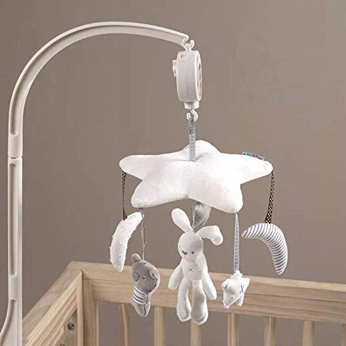 Deerbb Baby Nursery Crib Mobile Bed Bell Musical Interactive Toys for 0-12 Months Newborn Best Kids Boys Girls Gift Infant Cot Bassinet Mobile Bed Ring with Arm and Music Box - Cot Mobile