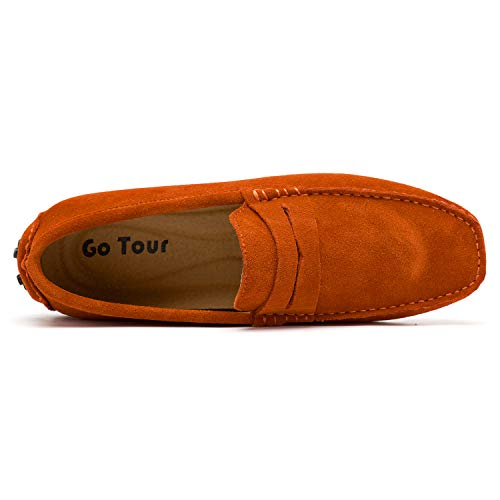 Flats Boat Penny Orange Loafers Men's On Shoes Go Tour Driving Shoes Moccasin Slip vqHAzR