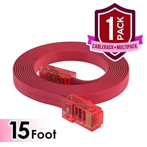 CableRack 15ft RJ45 to RJ45 Rollover Console Cable for Cisco Red