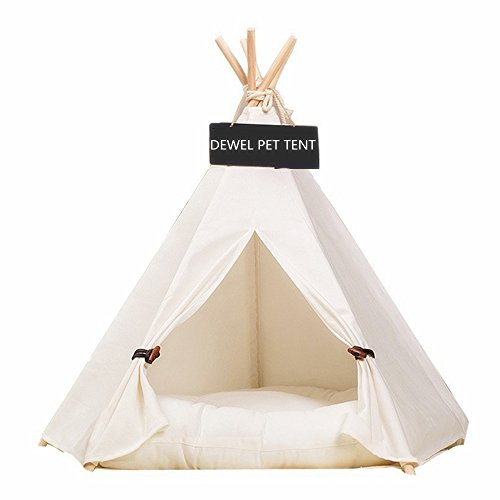 Pet Teepee Tent,Removable and Washable Pure White Pet Kennels Pet Play House Dog Play Tent Cat/Dog Bed (Without Cushion) by DEWEL