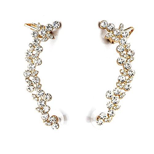 Boderier Ear Cuffs Crystal Flower Earrings Crystal Cluster Top Ear Clip