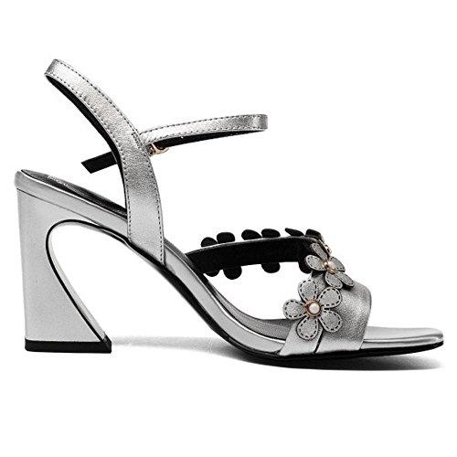 Chunky Silver Sandales De Sangle Cheville Femmes Coolcept qSZwXvw