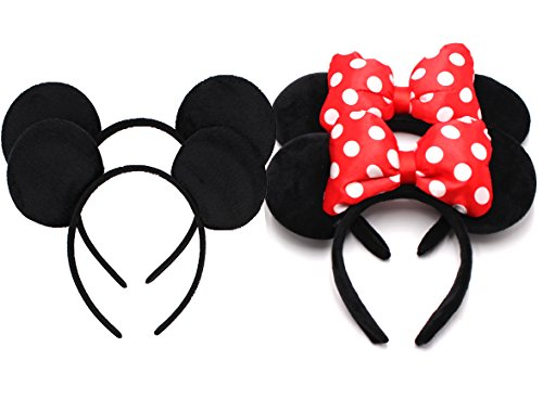 Pack of 4 - Adorable Mouse Ears Black and Big RoseRed Bow Headband for Boys and Girls Birthday Party Celebrations Costume