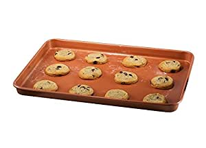 """Gotham Steel Nonstick Copper Cookie Sheet and Jelly Roll Baking Pan 12"""" x 17"""" – 1 PACK"""