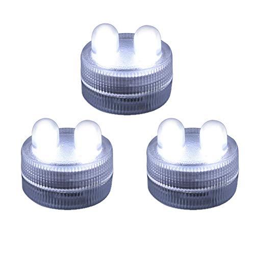 Homemory 12PCS Waterproof Submersible LED Tea Lights, Battery Operated Underwater Double LED Lights Flameless LED Tea Light White for Wedding, Centerpiece, Party, Pool, Fountain by Homemory
