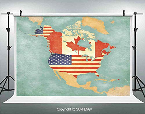 - Photography Background States and Canada Outline Map of The North America in Grunge Stylized Soft Colors 3D Backdrops for Photography Backdrop Photo Background Studio Prop