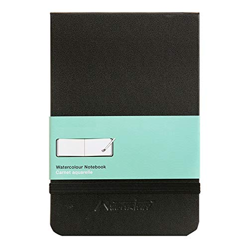 Chris.W Portable Watercolor Album Sketchbook Journal, Pocket Size, Hard Black Cover(5.5 x3.5)