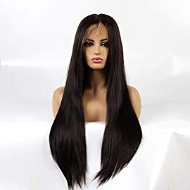 Life Diaries 6 INCH Lace Deep Parting Kanekalon Light Yaki Straight High Density Heat Resistant Fiber Bleached Knot Glueless Large Part Space Synthetic Lace Front Wig For Girls And Women Dark Brown