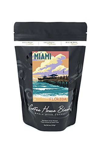 Miami, Florida - Fishing Pier and Sunset (8oz Whole Bean Small Batch Artisan Coffee - Bold & Strong Medium Dark Roast w/ - Pier Park Miami