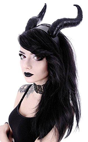 Restyle Gothic Hair Headband Maleficent Horns Nu Goth - Black -