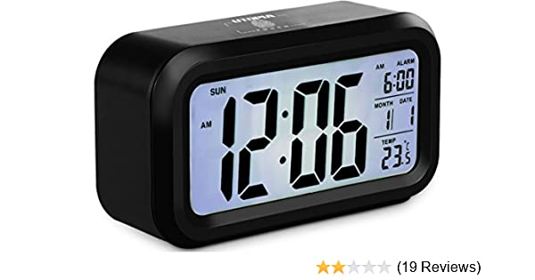 Utopia Home Smart Backlight Alarm Clock with Touch Light and Snooze Sensor - LCD Display -...