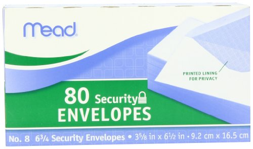 043100752127 - Mead #6 3/4 Security Envelopes, 80 Count (75212) carousel main 1