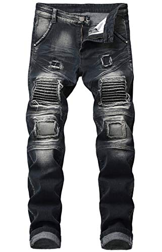 (Aiyino Men's Ripped Slim Straight Fit Biker Jeans with Zipper (US 40, 01 Black))