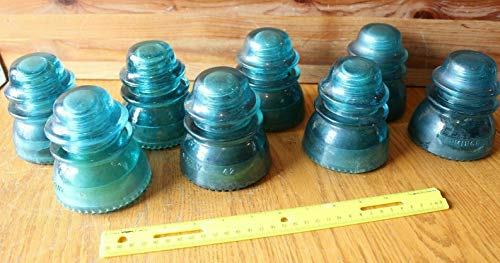 - Vintage Hemingray No 42 telephone glass pole insulators Lot of 8 Aqua Blue Green