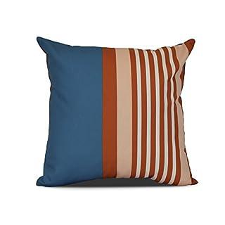 E by design Beach Shack Stripe Print Outdoor Pillow, 16 x 16, Teal