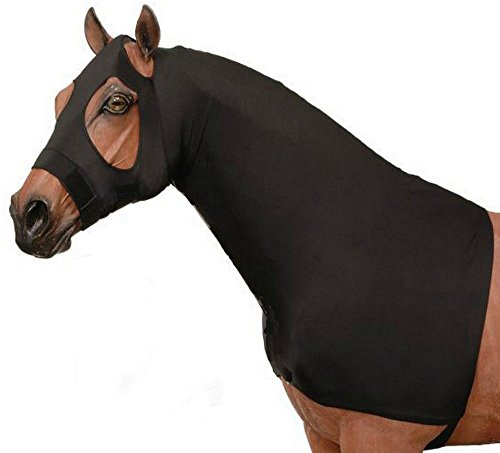 AJ Tack Wholesale Horse Slinky Hood Shoulder Guard Mane Keeper Lycra Slip On Fleece Band Black M