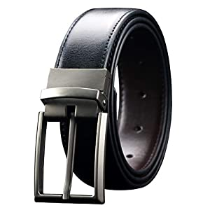 Men's Reversible Leather Dress Belt 1.3″ Wide Rotated Buckle